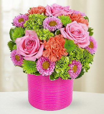 Hot pink flowers florists hot pink flowers hot pink green orange carnations roses florists mightylinksfo