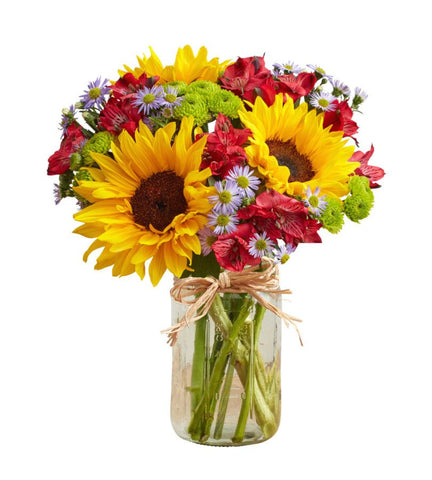 Colorful Mason Jar Bouquet