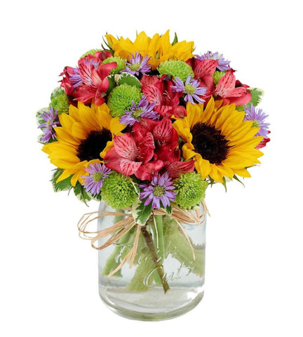 Colorful Mason Jar Bouquet.