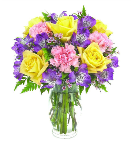 Yellow Roses and Purple Lily Bouquet