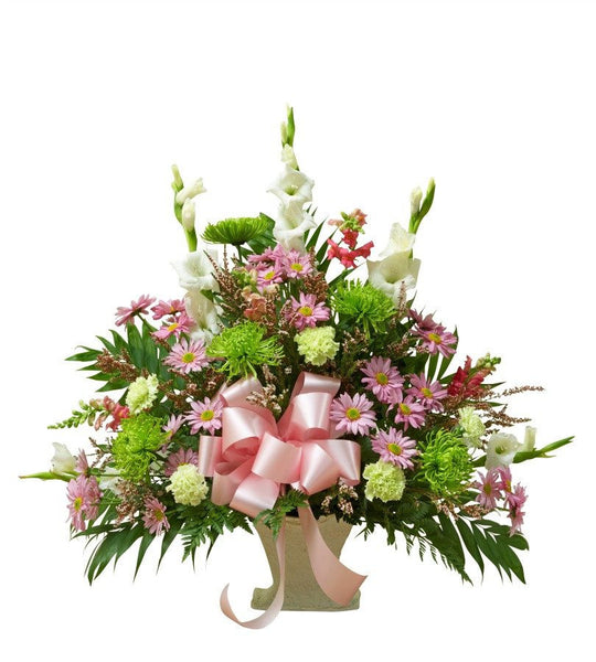 Pastel Blooms Floor Basket Arrangement