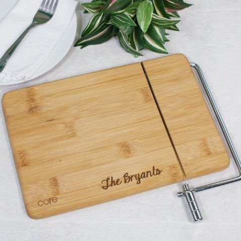 Engraved Bamboo Cheese Board And Slicer