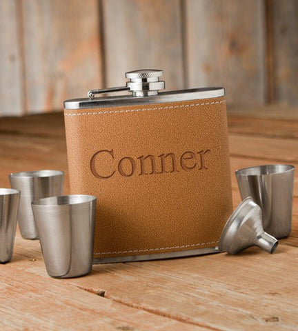 Personalized Flask & Shot Glass Gift Set