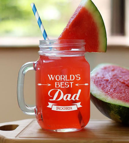 Personalized Worlds Best Dad Mason Jar