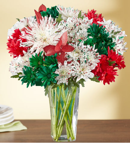 Red & Green Glimmer Bouquet