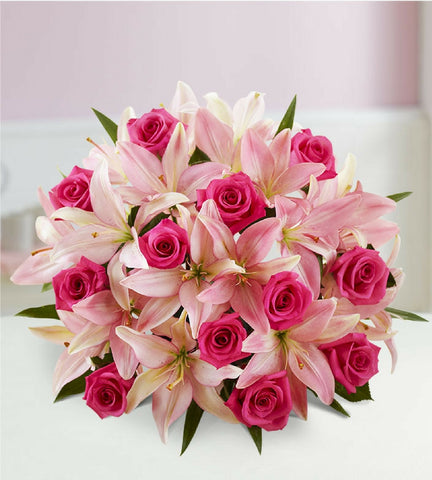 Pink Rose and Lily Elegance