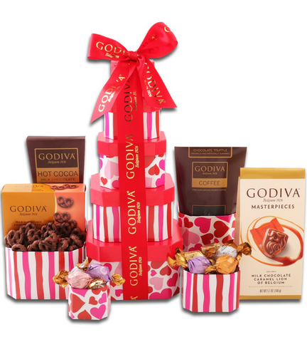 Valentine's Godiva Chocolate Tower