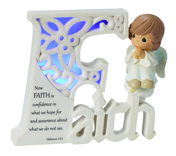 Precious Moments Faith LED Word With Angel Figurine