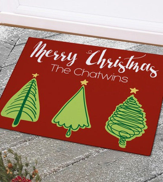 3 Trees Christmas Doormat