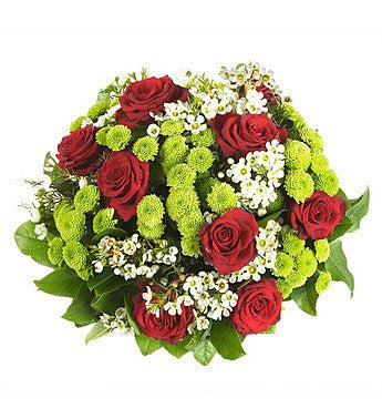 Red Rose and Lime Green Bouquet