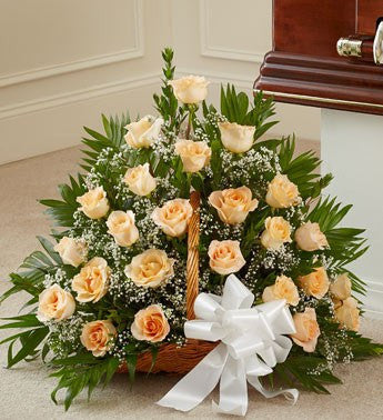 Long Stem Peach Roses Basket