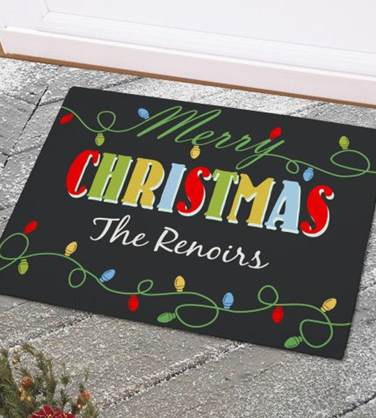 Christmas Lights Personalized Doormat