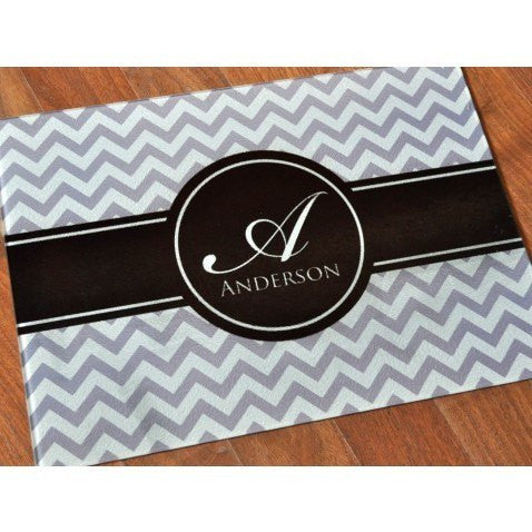 Personalized Chevron Glass Cutting Board Sign
