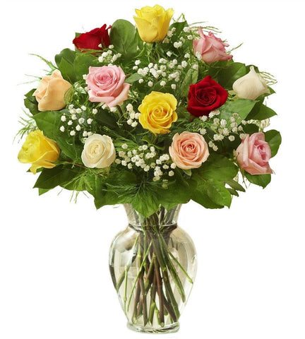 18 Rose Premium Long Stem Assorted Roses - OOS