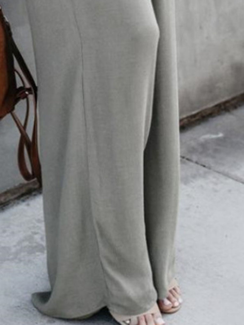 Plain Lace-Up Loose High Waist Full Length Casual Pants