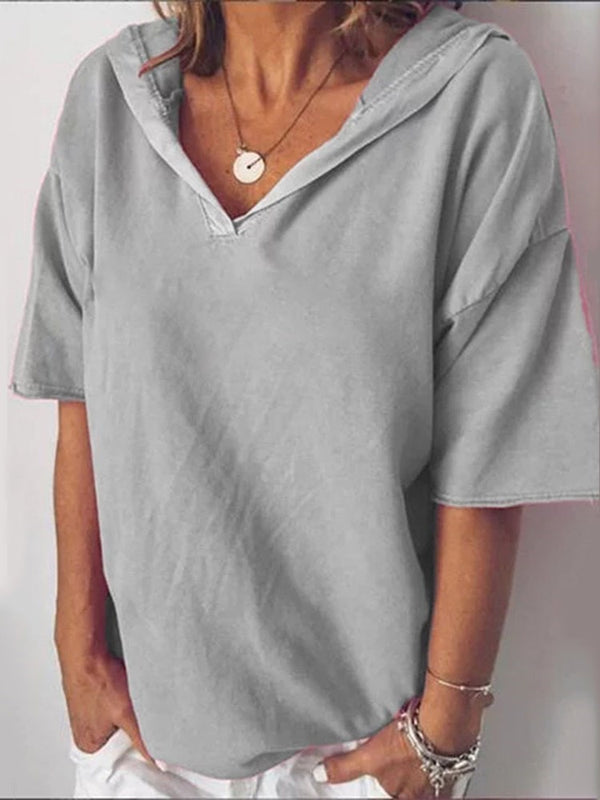 Plain Standard Half Sleeve Casual Loose T-Shirt