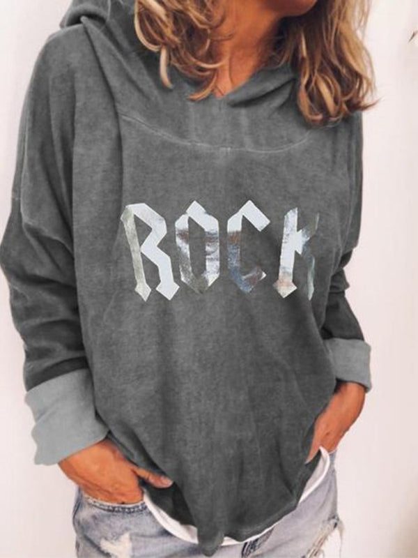 Regular Letter Print Long Sleeve Hooded Hoodie