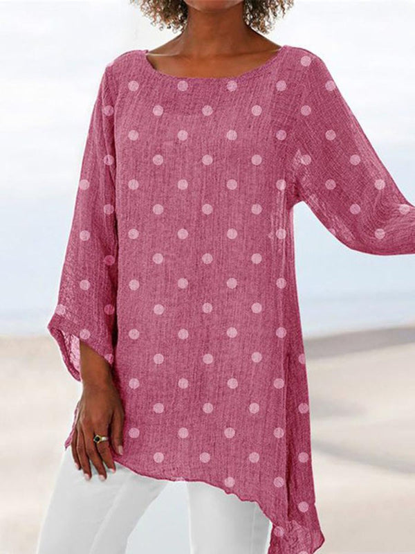 Pleated Round Neck Polka Dots Mid-Length Nine Points Sleeve Blouse