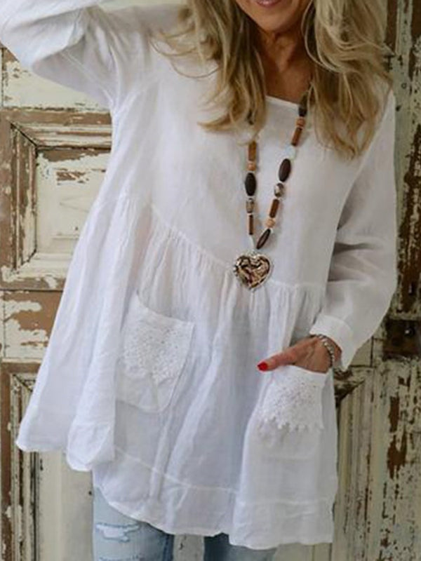 Pocket Round Neck Regular Mid-Length Long Sleeve Blouse