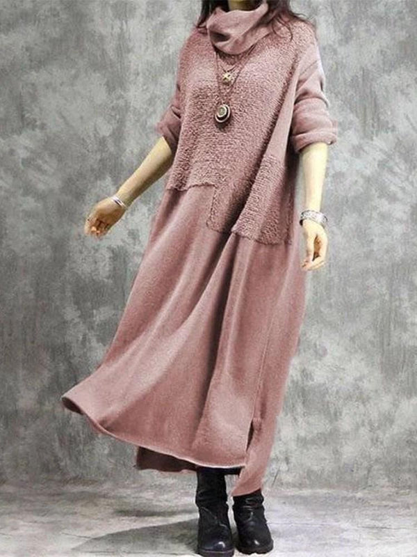 Patchwork Long Sleeve Ankle-Length Plain Pullover Dress