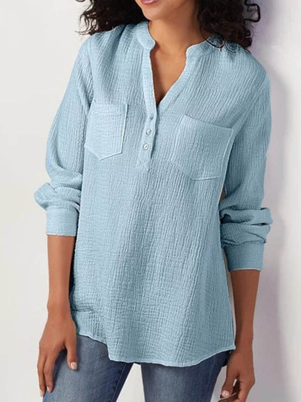 Button Plain V-Neck Standard Nine Points Sleeve Blouse
