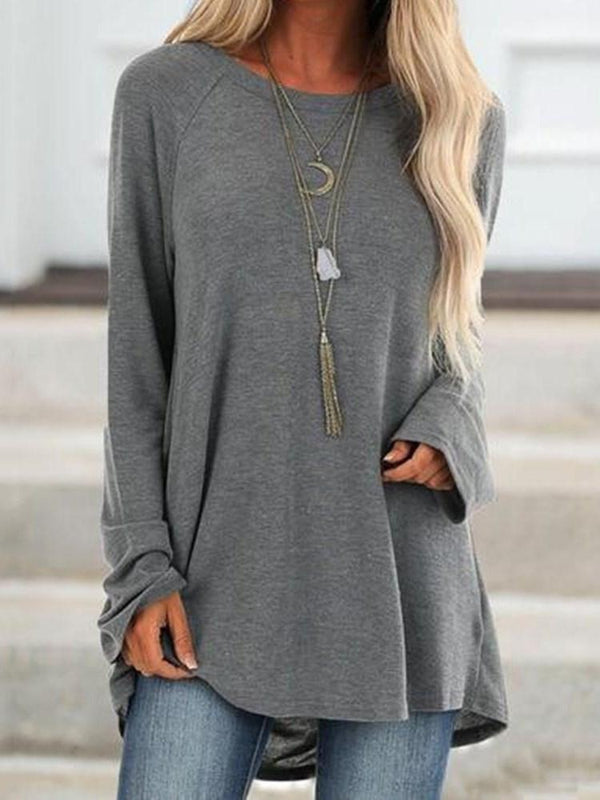 Mid-Length Plain Round Neck Loose Casual T-Shirt