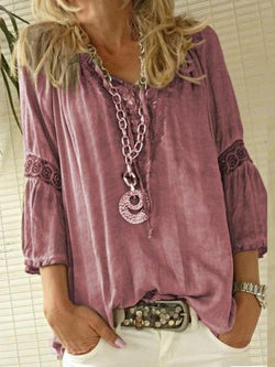 Plain V-Neck Patchwork Mid-Length Three-Quarter Sleeve Blouse