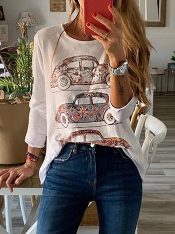Long Sleeve Standard Color Block Loose Casual T-Shirt