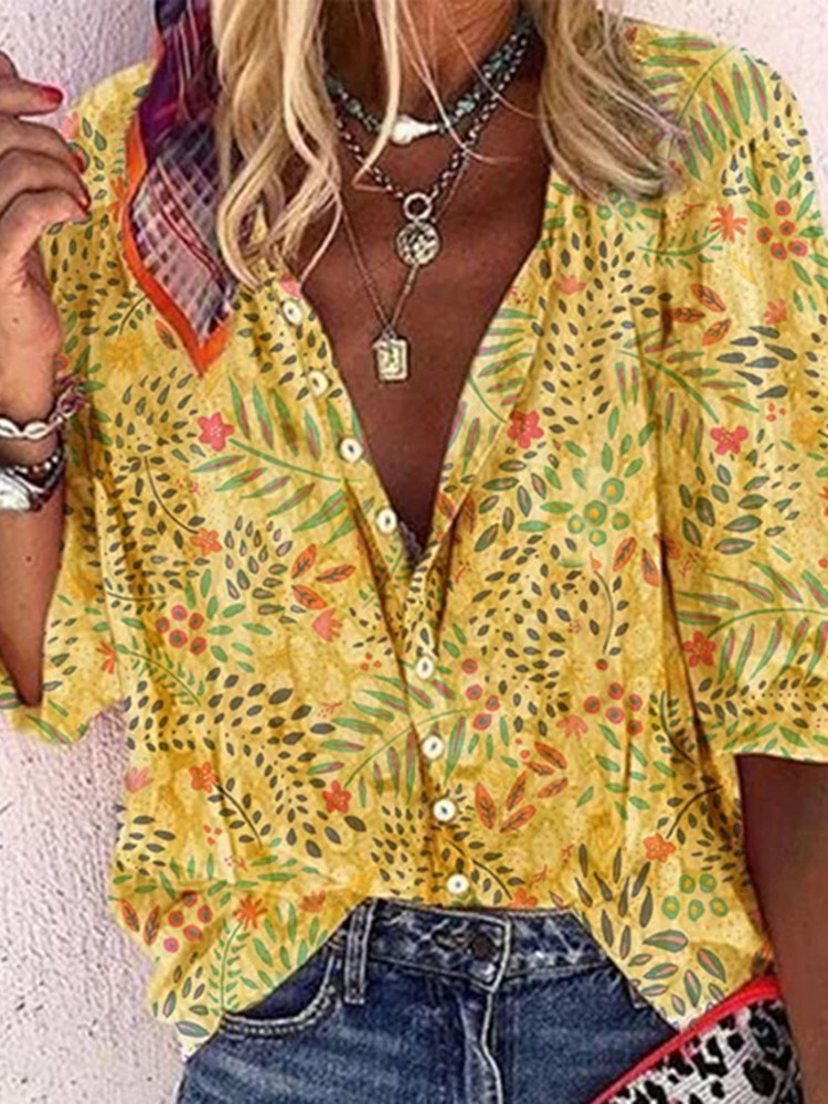 Lapel Plant Print Three-Quarter Sleeve Standard Blouse