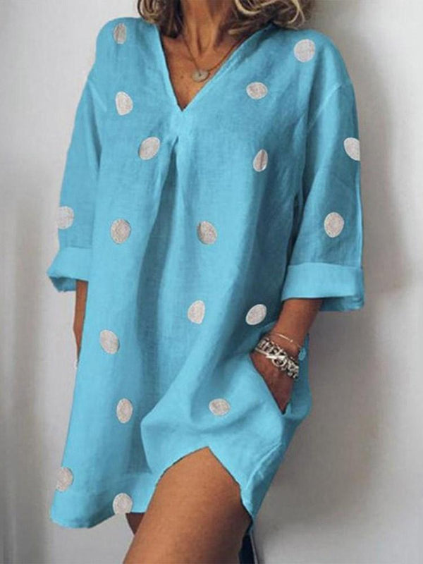Above Knee Print Long Sleeve Pullover Polka Dots Dress