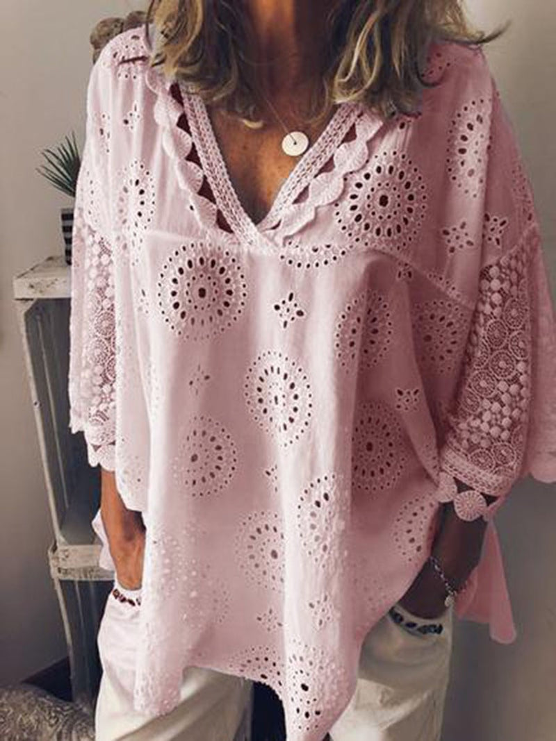V-Neck Geometric Hollow Three-Quarter Sleeve Mid-Length Blouse