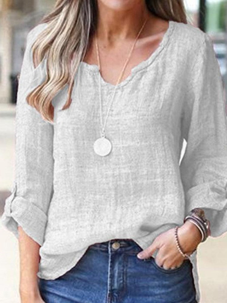 Three-Quarter Sleeve Standard V-Neck Casual Loose T-Shirt