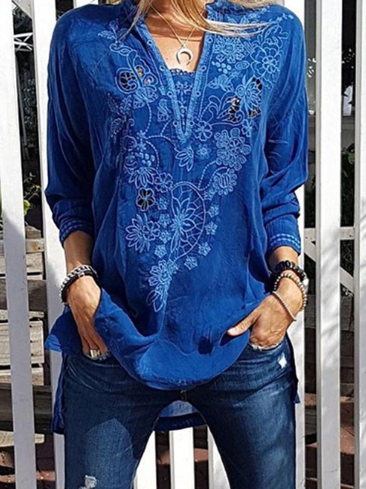Three-Quarter Sleeve Floral V-Neck Casual Loose T-Shirt