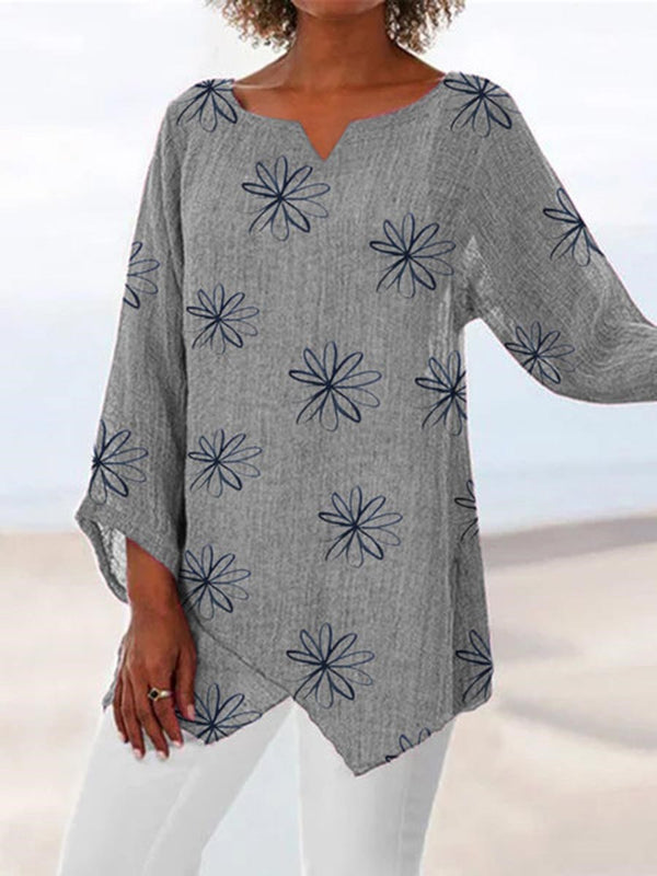 Nine Points Sleeve V-Neck Floral Loose T-Shirt