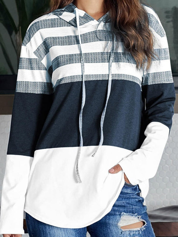 Color Block Patchwork Hooded Mid-Length Hoodie