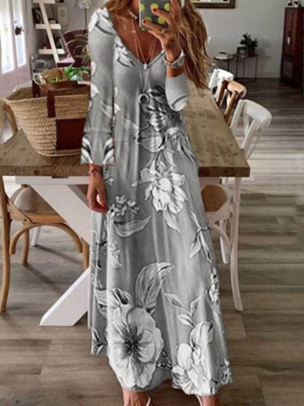 Print Nine Points Sleeve V-Neck Floral Standard-Waist Dress