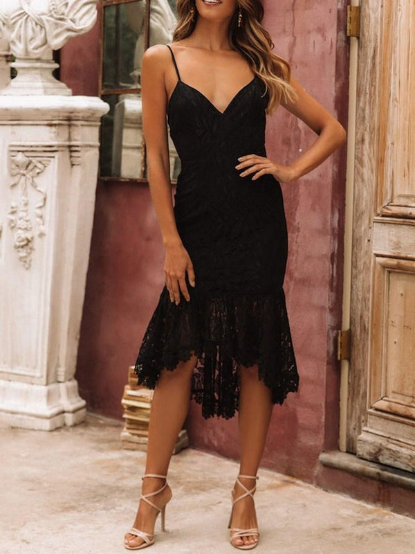 V-Neck Mid-Calf Lace Asymmetrical Summer Dress