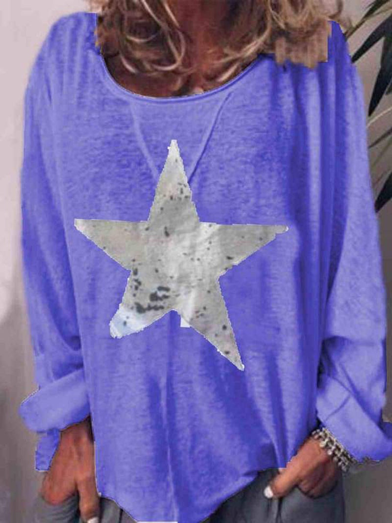 Star Long Sleeve Mid-Length Casual Loose T-Shirt