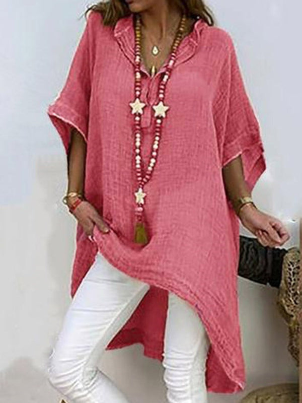 Asymmetric Plain Long Three-Quarter Sleeve Blouse