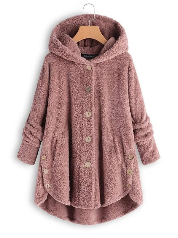 Regular Single-Breasted Loose Mid-Length Hooded Overcoat