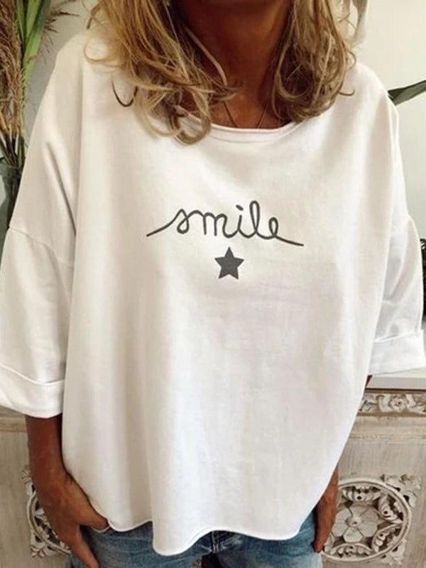 Letter Three-Quarter Sleeve Round Neck Fall Loose T-Shirt