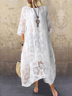 Three-Quarter Sleeve Ankle-Length Round Neck Casual Pullover Dress