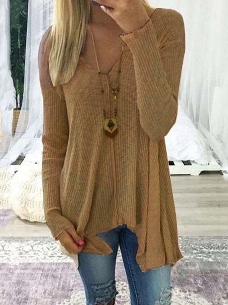 Asymmetric Long Sleeve V-Neck Sweater