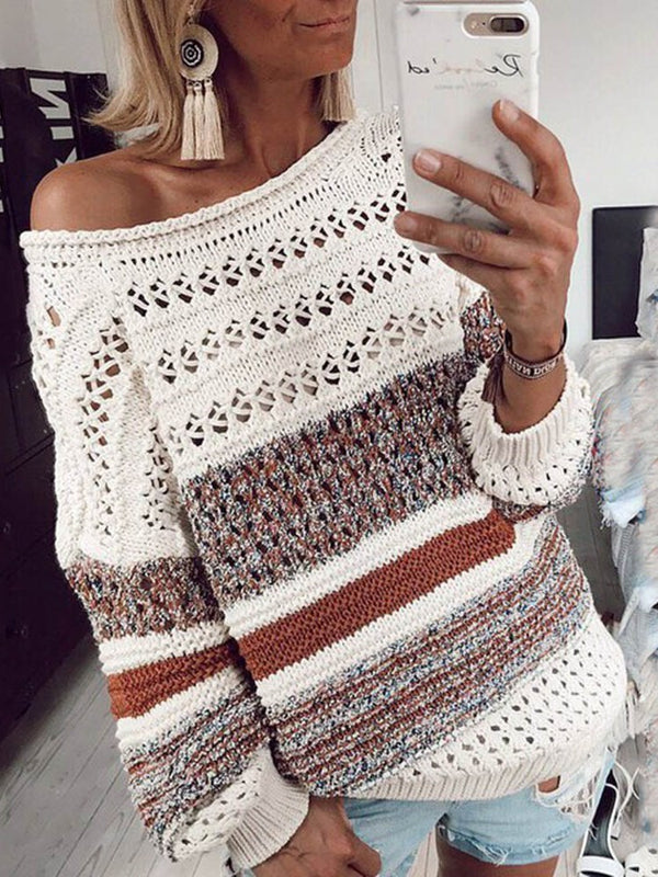 Patchwork Long Sleeve Loose Sweater