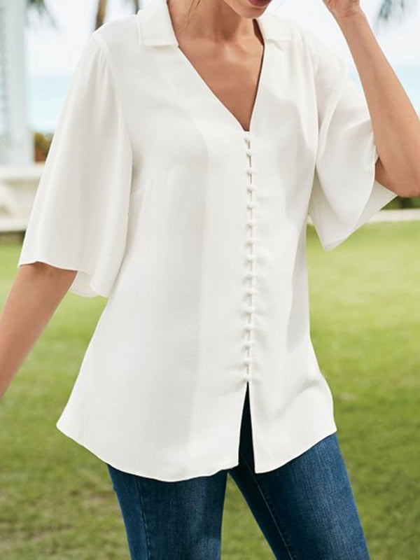 Lapel Plain Mid-Length Three-Quarter Sleeve Blouse