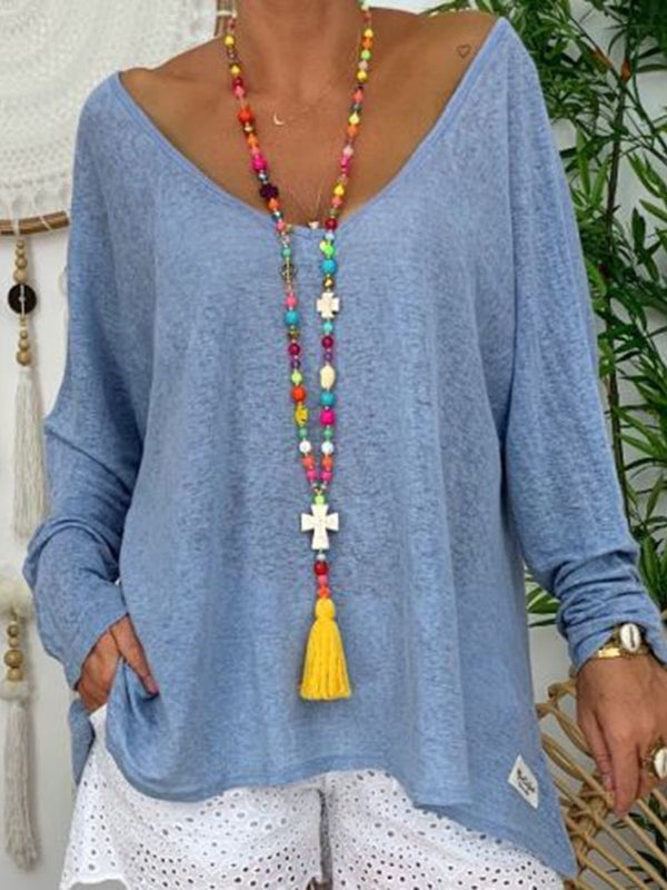 Mid-Length Plain Long Sleeve Casual Loose T-Shirt