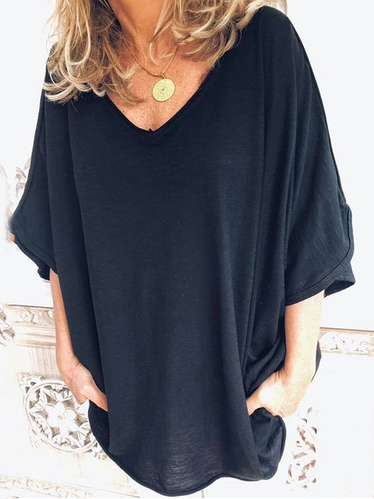 Three-Quarter Sleeve Plain Mid-Length Loose Casual T-Shirt