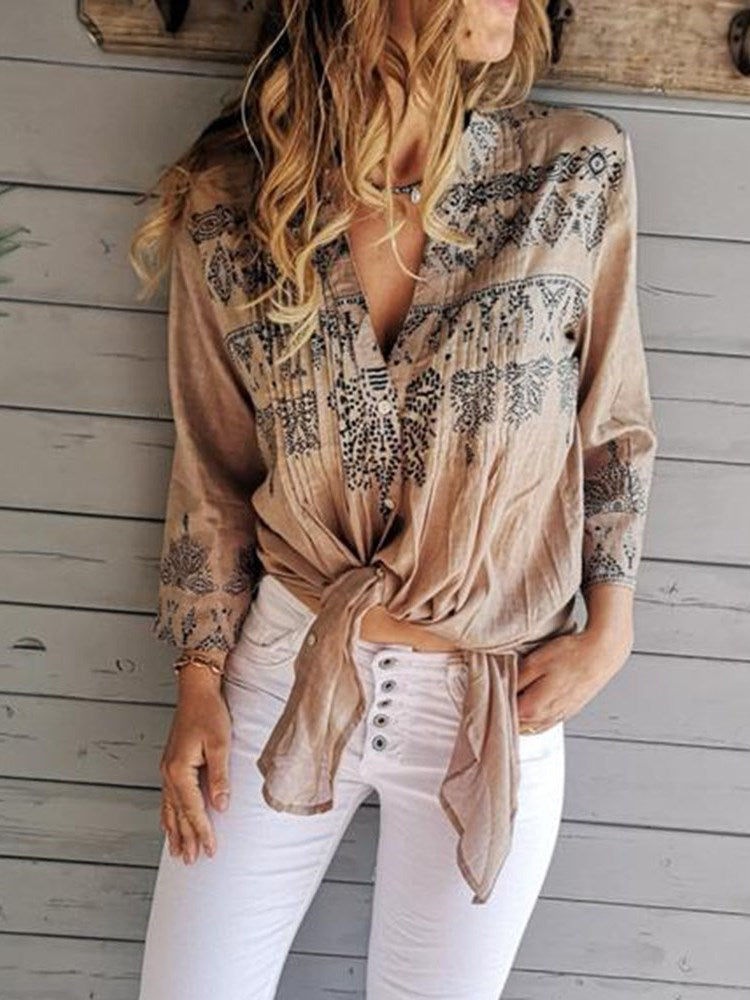 Print Regular Color Block Three-Quarter Sleeve Mid-Length Blouse