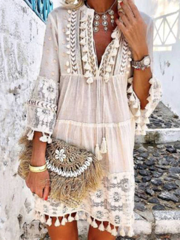 V-Neck Three-Quarter Sleeve Tassel Pullover A-Line Dress