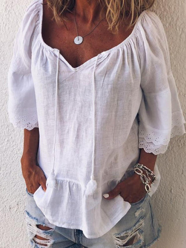 Plain Lace Three-Quarter Sleeve Standard Blouse